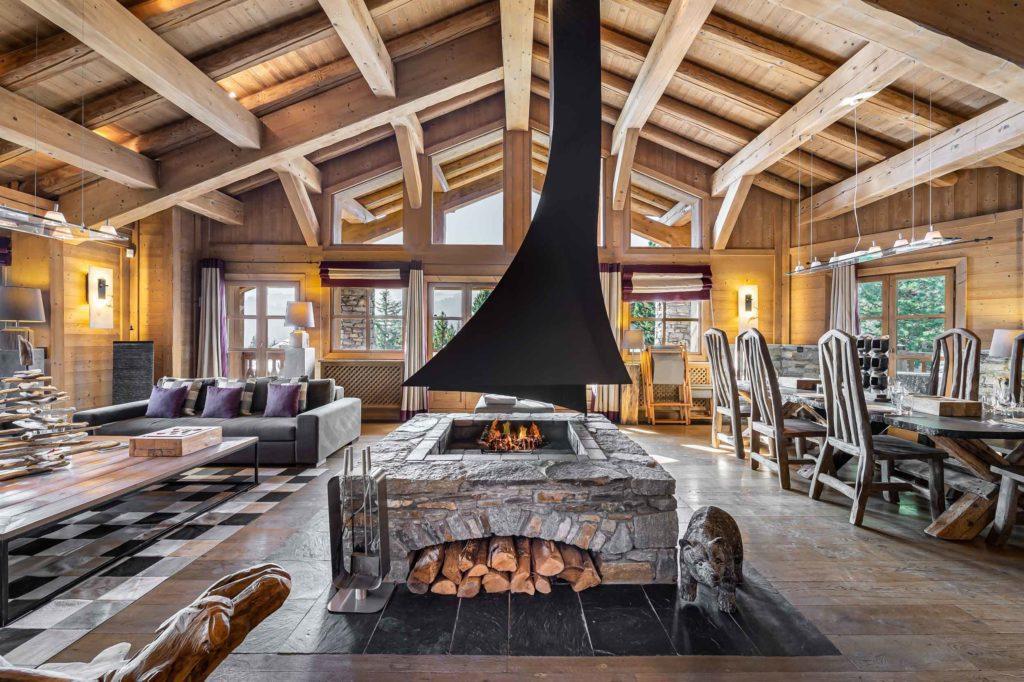 chalet everest courchevel 1850 fireplace