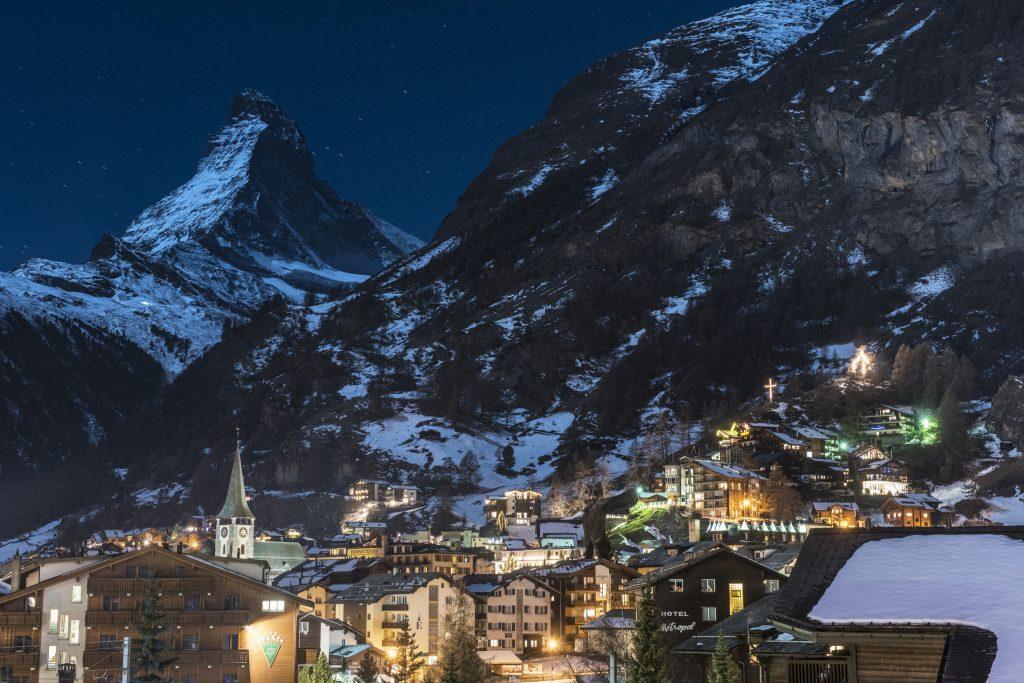 chalet denali zermatt night views