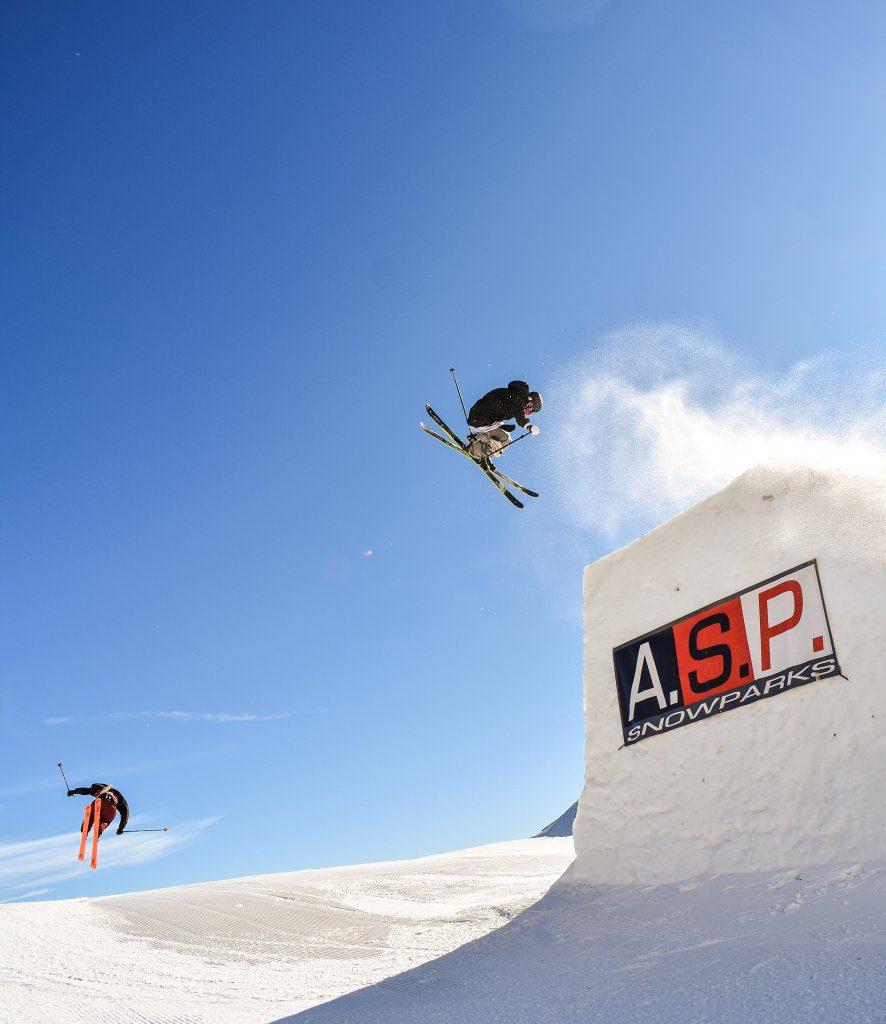 ski jump summer skiing on glacier